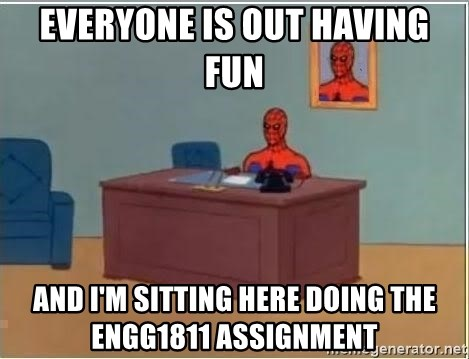 Spiderman Desk - everyone is out having fun and i'm sitting here doing the engg1811 assignment