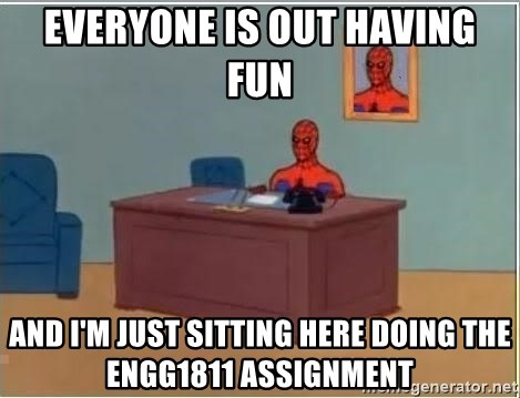 Spiderman Desk - everyone is out having fun and i'm just sitting here doing the engg1811 assignment