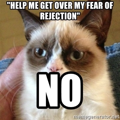 """Grumpy Cat  - """"help me get over my fear of rejection"""" no"""