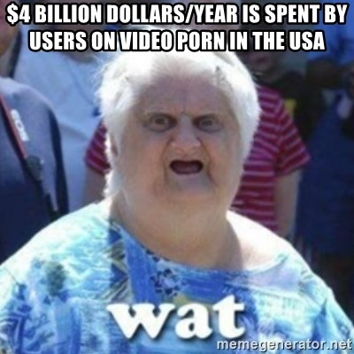 Fat Woman Wat - $4 BILLION DOLLARS/year is spent by users on video porn in the USA