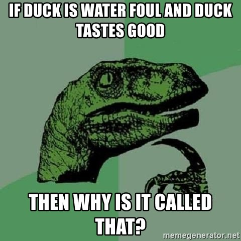 Philosoraptor - if duck is water foul and duck tastes good then why is it called that?