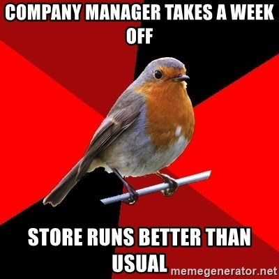 Retail Robin - company manager takes a week off store runs better than usual
