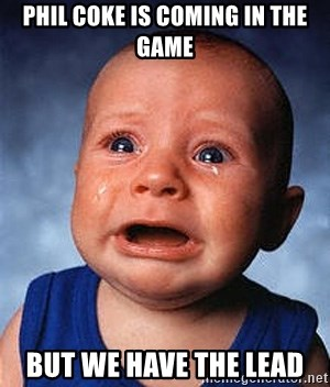 Crying Baby - phil coke is coming in the game but we have the lead