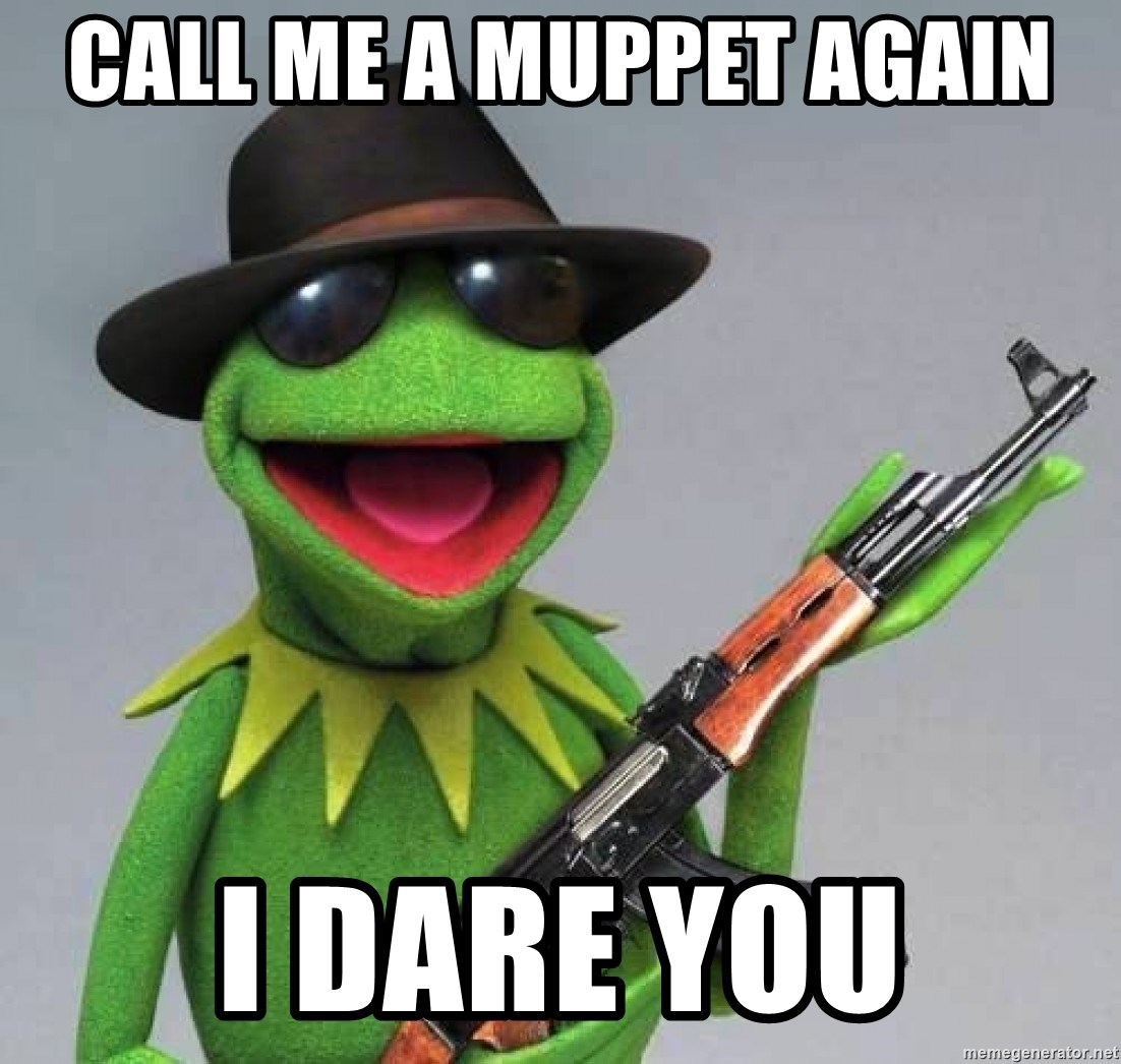 Kermit the Frog shots - call me a muppet again i dare you