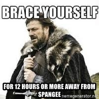meme Brace yourself -  for 12 hours or more away from spangee