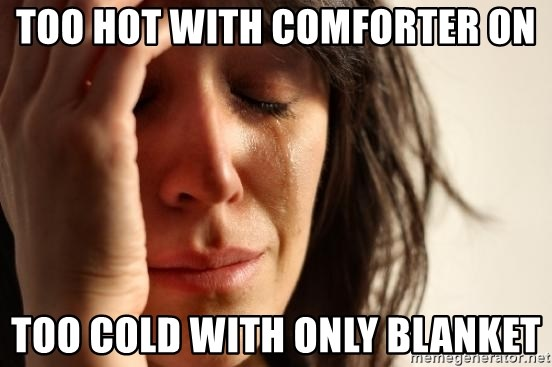 First World Problems - too hot with comforter on too cold with only blanket