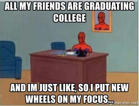 Spiderman Desk - all my friends are graduating college and im just like, so i put new wheels on my focus...