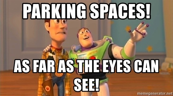 buzz as far as the eye can see - Parking spaces!  As far as the eyes can see!