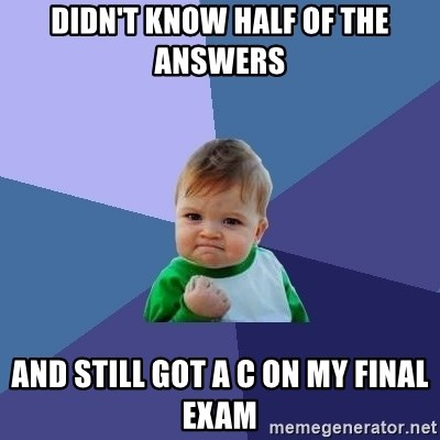 Success Kid - Didn't know half of the answers And still got a C on my final exam