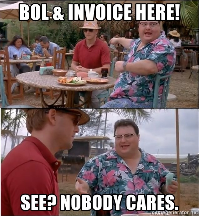 See? Nobody Cares - BOL & INVOICE HERE! SEE? NOBODY CARES.