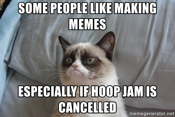 Grumpy Cat  - Some people like making memes especially if Hoop Jam is cancelled