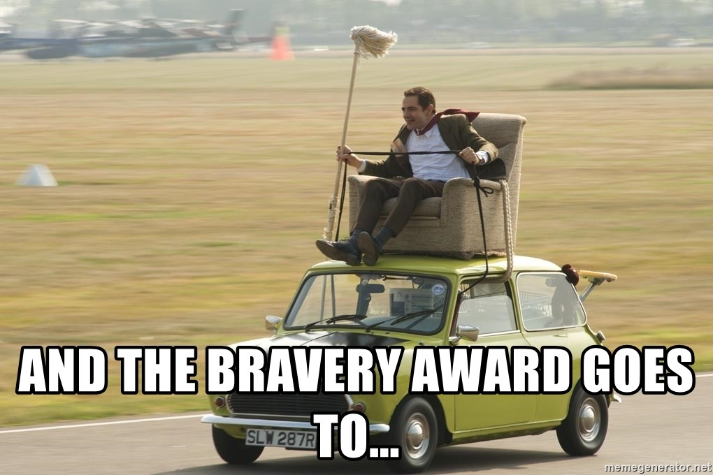 mr bean mini cooper - and the bravery award goes to...
