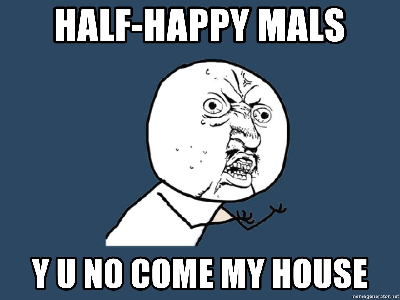 Y U No - Half-happy Mals Y U No come my house
