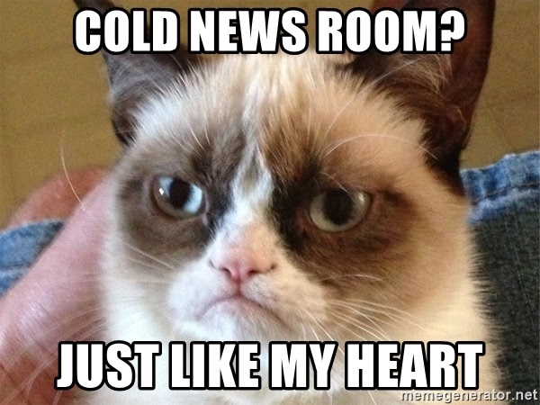 Angry Cat Meme - cold news room? just like my heart