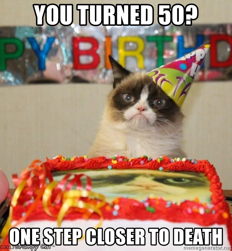 Grumpy Cat Birthday hat - you turned 50? one step closer to death