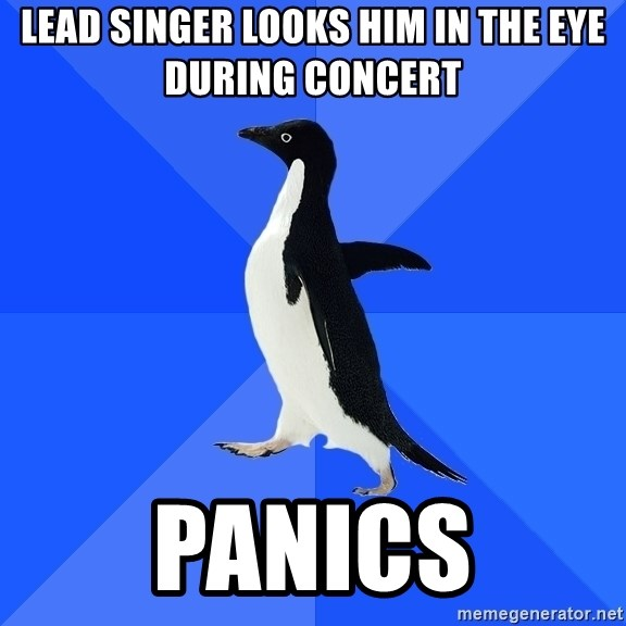 Socially Awkward Penguin - lead singer looks him in the eye during concert panics