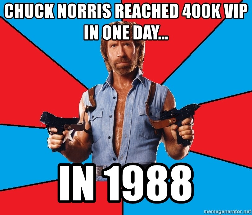 Chuck Norris  - Chuck Norris reached 400K VIP in one day... In 1988