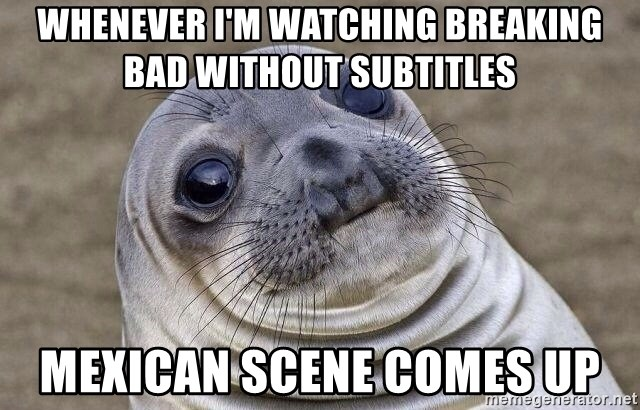 Awkward Seal - Whenever i'm watching breaking bad without subtitles Mexican scene comes up