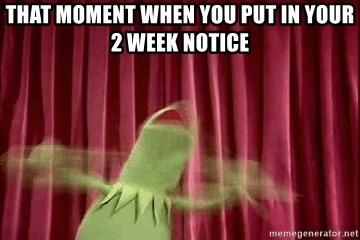 kermit - that moment when you put in your 2 week notice