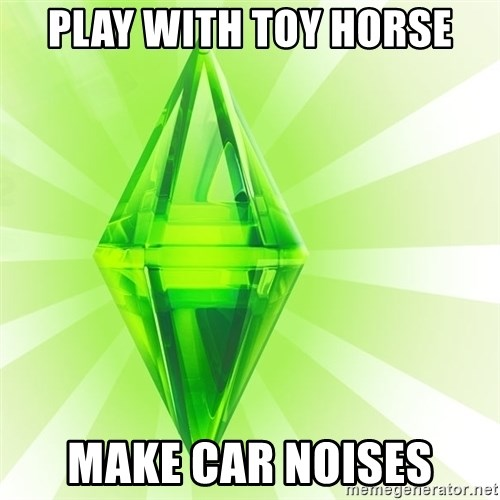 Sims - Play with toy Horse Make car noises