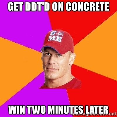 Hypocritical John Cena - Get DDT'd on concrete win two minutes later