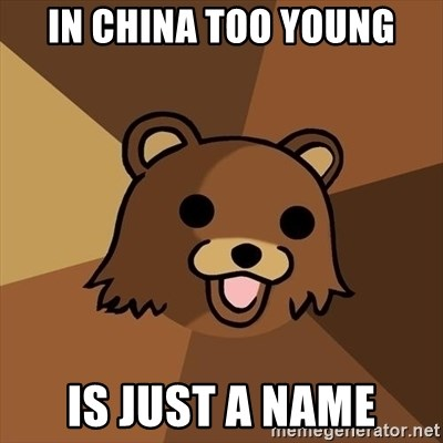 Pedobear - In china too young is just a name