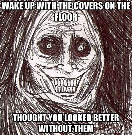 Uninvited house guest - wake up with the covers on the floor thought you looked better without them
