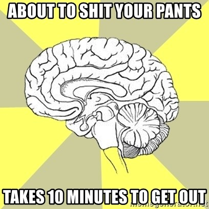 Traitor Brain - about to shit your pants takes 10 minutes to get out