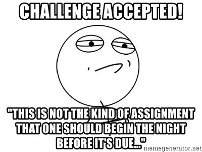 """Challenge Accepted - challenge accepted! """"This is not the kind of assignment that one should begin the night before it's due..."""""""