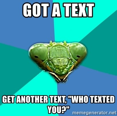 """Crazy Girlfriend Praying Mantis - Got a text get another text, """"Who texted you?"""""""