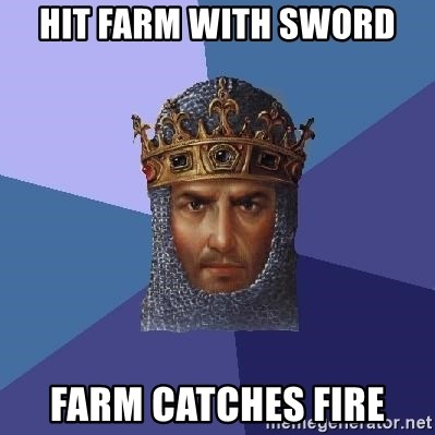 Age Of Empires - hit farm with sword farm catches fire