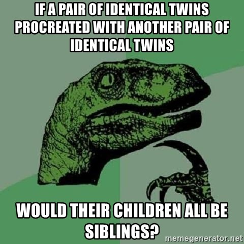 Philosoraptor - if a pair of identical twins procreated with another pair of identical twins would their children all be siblings?