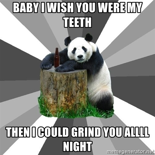 Pickup Line Panda - baby i wish you were my teeth then i could grind you allll night