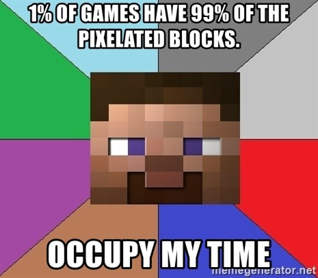 Minecraft-user - 1% of games have 99% of the pixelated blocks. Occupy my time