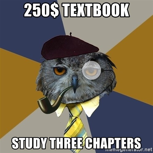 Art Professor Owl - 250$ textbook study three chapters