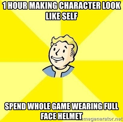 Fallout 3 - 1 hour making character look like self spend whole game wearing full face helmet