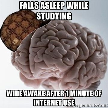 Scumbag Brain - FALLS ASLEEP WHILE STUDYING WIDE AWAKE AFTER 1 MINUTE OF INTERNET USE