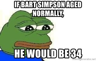 Sad Frog - If bart simpson aged normally, He would be 34