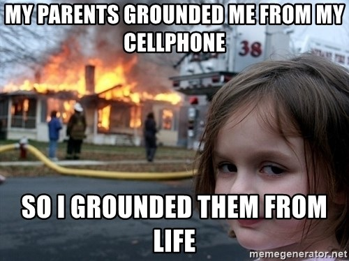 Disaster Girl - my parents grounded me from my cellphone so i grounded them from life