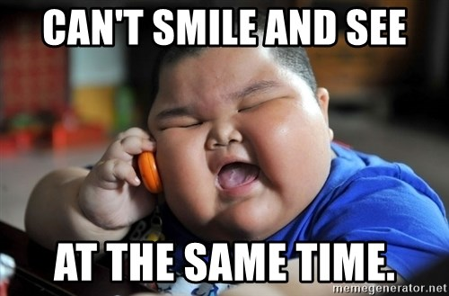Fat Asian Kid - CAN'T SMILE AND SEE AT THE SAME TIME.