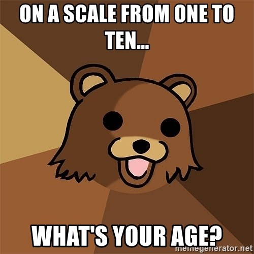 Pedobear81 - On a Scale From one to ten... What's your age?