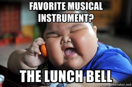 Fat Asian Kid - Favorite musical instrument? the lunch bell