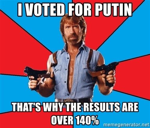 Chuck Norris  - I voted for putin that's why the results are over 140%