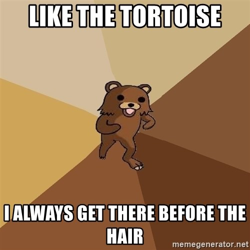 Pedo Bear From Beyond - like the tortoise I always get there before the hair