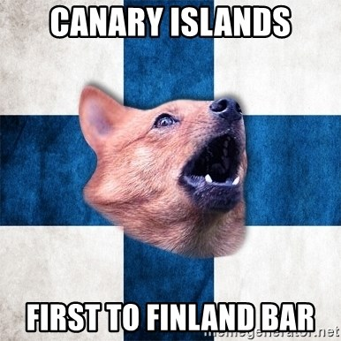 Suomikoira - CANARY ISLANDS FIRST TO FINLAND BAR