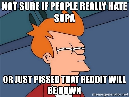 Futurama Fry - Not sure if people really hate SOPA Or just pissed that reddit will be down