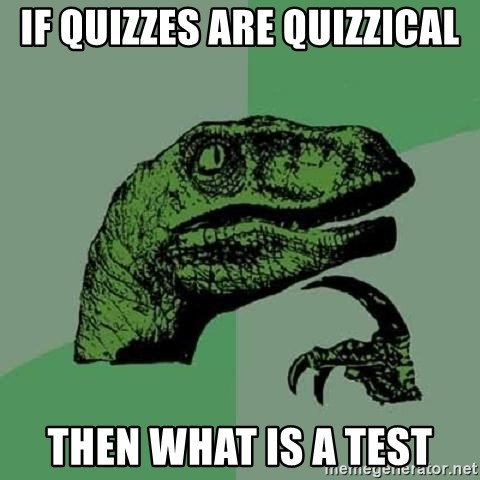 Philosoraptor - If quizzes are quizzical then what is a test