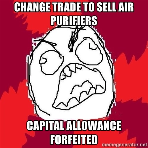 Rage FU - Change trade to sell air purifiers capital allowance forfeited