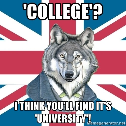 Sir Courage Wolf Esquire - 'college'?  I think you'll find it's 'university'!