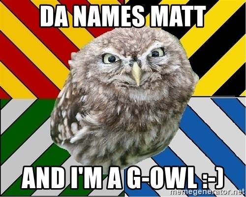 JEALOUS POTTEROMAN - Da names matt And I'm a G-owl :-)